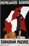 Vintage Travel Poster Homeward Bound Canadian Pacific